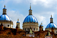 Blue Church Domes in Cuenca, Ecuador