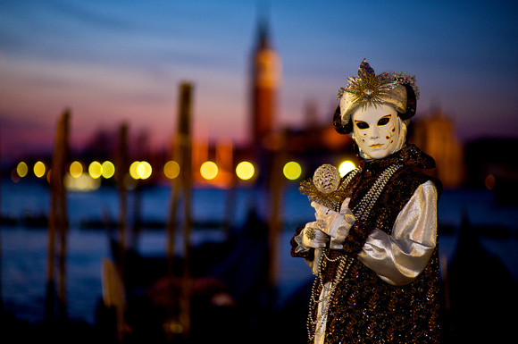Sunrise Carnival Mask in Venice, Italy