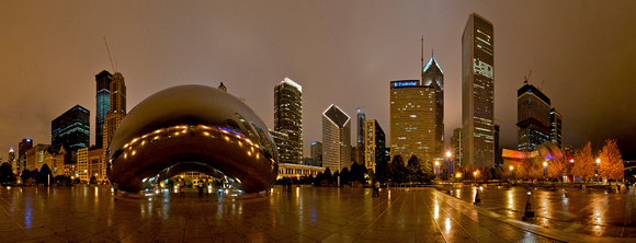 Chicago Panorama of Millennium Park