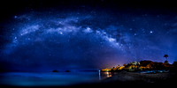 Milky Way over Mokulua Island Lanikai Beach and Pillbox Trail in Kailua Hawaii _86A0843-Pano